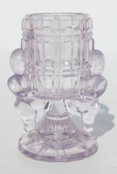 EAPG antique pressed glass match vase or toothpick holder, McKee peek-a-boo cherubs