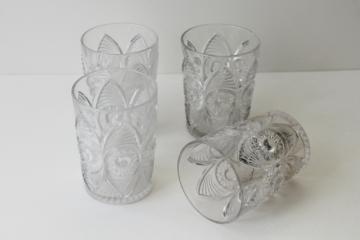 EAPG antique pressed pattern glass tumblers, bulls eye & fan vintage 1904
