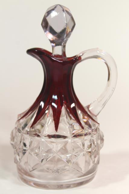 EAPG antique ruby stain glass cruet bottle, diamond pattern pressed glass w/ flashed color