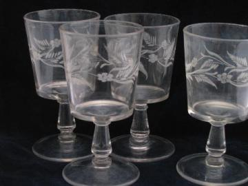 EAPG antique stemware, 4 old etched glass water glasses, large goblets