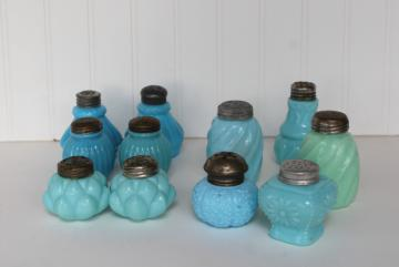 EAPG antique vintage pattern glass shakers, blue green milk glass delphite azurite