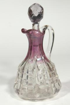 EAPG cranberry flash stain colored glass cruet, cut block or waffle pattern pressed glass