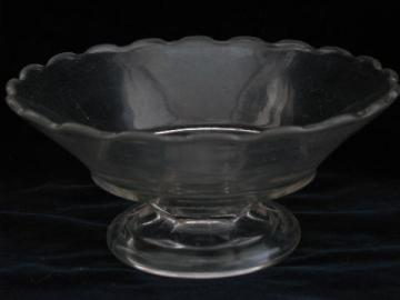 EAPG low fruit bowl w/ scalloped edge, antique vintage pressed pattern glass