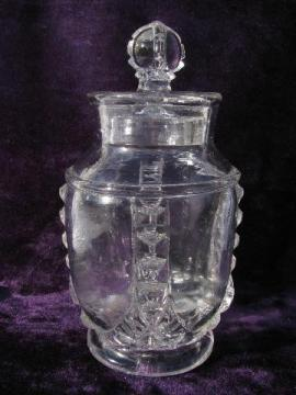 EAPG vintage apothecary store counter jar embossed Henry Wickert - Chicago
