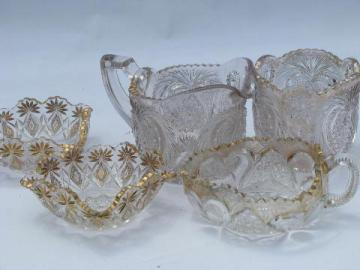 EAPG vintage heart & pineapple pattern glass, antique gold pitcher, bowls