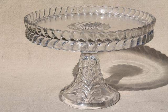 Eapg Vintage Pressed Glass Cake Stand Adams Feather Plume