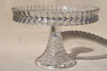EAPG vintage pressed glass cake stand, Adams feather plume pattern glass