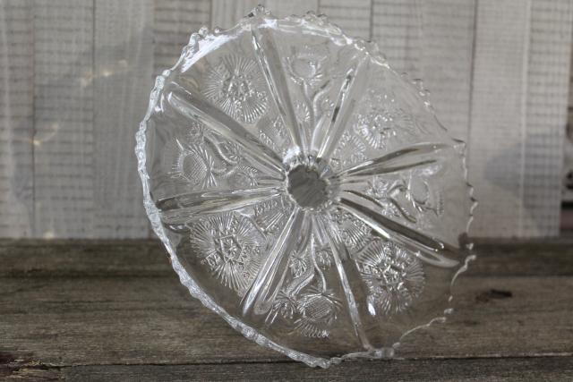 EAPG vintage pressed glass cake stand, Scots thistle pattern circa 1915