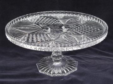 EAPG vintage pressed glass cake stand, star & fan pattern