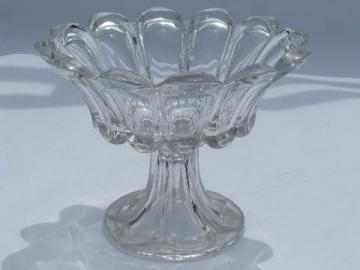 EAPG vintage pressed glass comport, antique pedestal dish compote bowl
