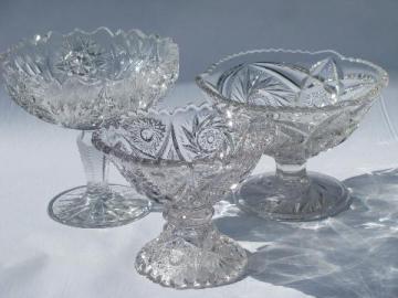 EAPG vintage pressed glass comport lot, antique pedestal dish compotes