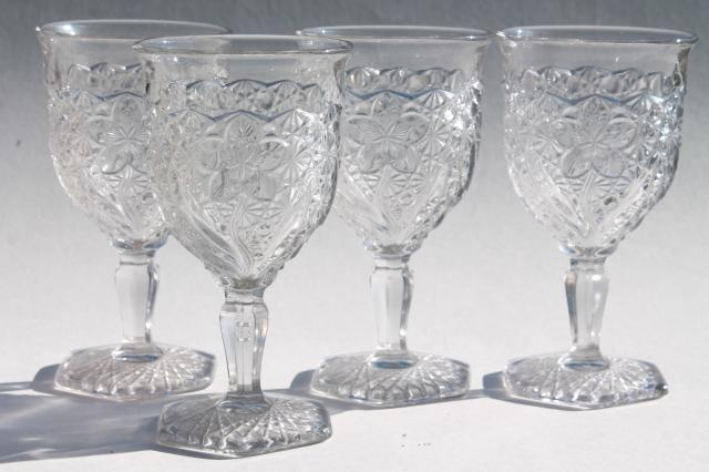 eapg vintage pressed glass water goblets daisy u0026 button with narcissus pattern - Water Goblets