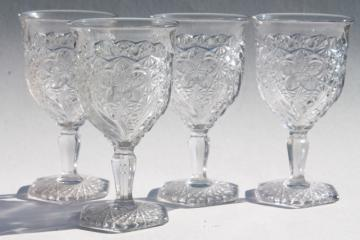 EAPG vintage pressed glass water goblets, daisy & button with narcissus pattern