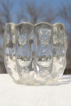 EAPG vintage pressed pattern glass spooner or celery vase, Dalzell's Priscilla moon & stars