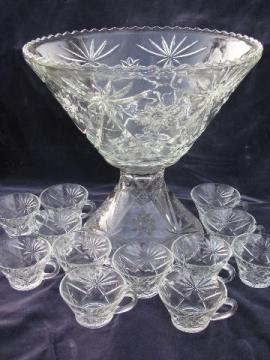 Early American Prescut pattern, vintage pressed glass punch bowl & cups set