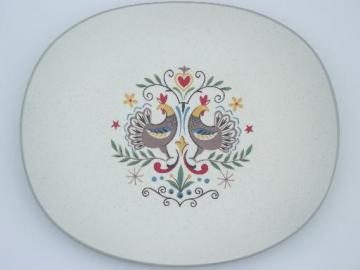 Early Morn folk art rooster vintage Harker stoneware serving platter
