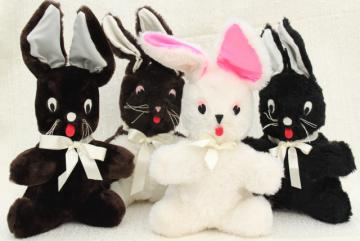 Easter bunny toy rabbits, 1960s vintage handmade stuffed animals, fuzzy fur felt trimmed toys