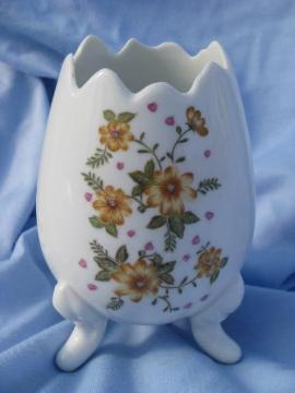 Easter egg vase w/ hand-painted flowers, vintage Japan china - Lefton?