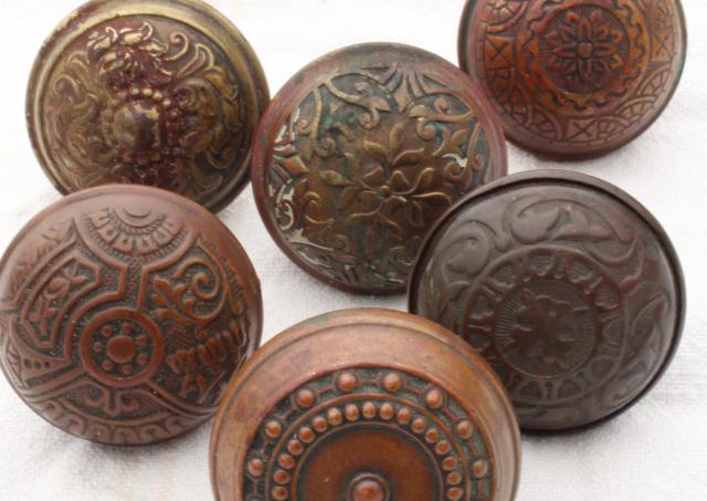 Eastlake Antique Brass Door Knobs, Original Patina Art Nouveau Vintage  Hardware Lot