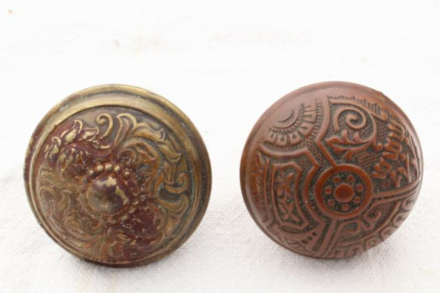 Eastlake antique brass door knobs, original patina art nouveau vintage hardware lot