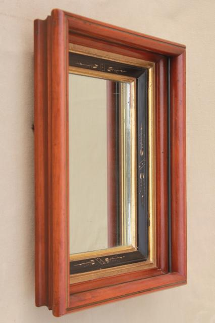 Eastlake antique mirror, early 1900s vintage deep wood picture frame w/ carving