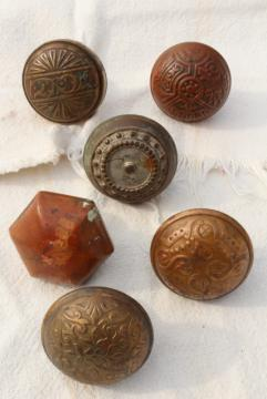 Eastlake vintage antique brass door knobs, original patina aesthetic hardware lot
