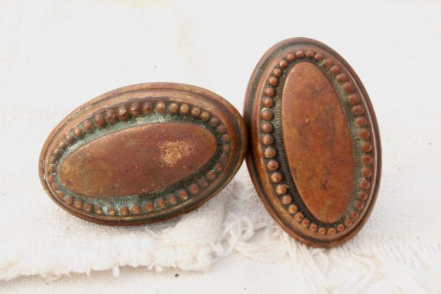 eastlake vintage antique door knobs original brass patina aesthetic movement hardware lot