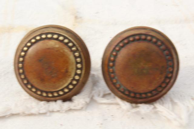 eastlake vintage antique door knobs original brass patina aesthetic movement hardware lot - Antique Door Hardware