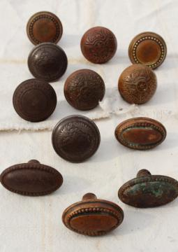 Eastlake vintage antique door knobs, original brass patina aesthetic movement hardware lot