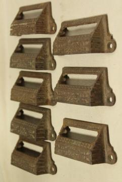 Eastlake vintage cast iron bin style drawer pulls, ornate antique hardware