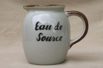 Eau de Source spring water pitcher, vintage French country kitchen stoneware jug
