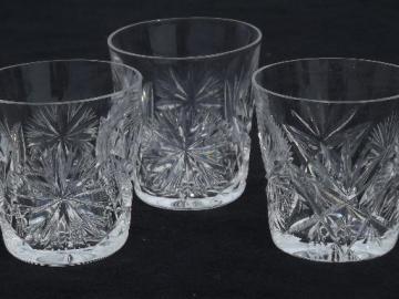 Edinburgh cut crystal cordial or shot glasses, star pattern glass