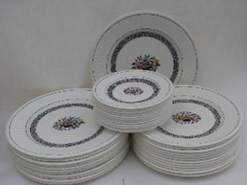 Edme creamware w/ flower basket, 1920s vintage Wedgwood china, Trentham plates for 10