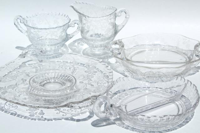 Elaine etch Cambridge gadroon pattern glass serving pieces vintage elegant glass  sc 1 st  Laurel Leaf Farm & Elaine etch Cambridge gadroon pattern glass serving pieces vintage ...