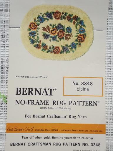 Elaine floral pattern print latch hook rug back canvas, vintage Bernat