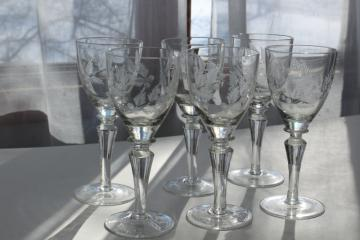 Electra Arcadia vintage crystal wine glasses, wheel cut etched fern & berry pattern