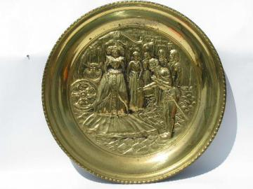 Elizabeth I renaissance embossed vintage English brass charger tray