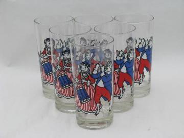 Elsie & Elmer Borden vintage bicentennial patriot milk glasses, red, white & blue