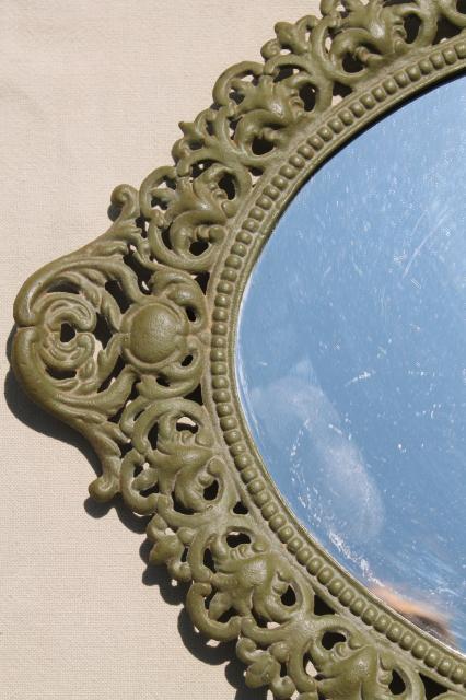 Emig Vintage Cast Iron Mirror Tray Frame Ornate Metal W