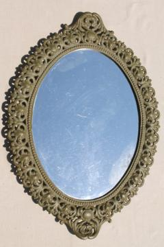 Emig vintage cast iron mirror tray frame, ornate metal w/ old green paint patina