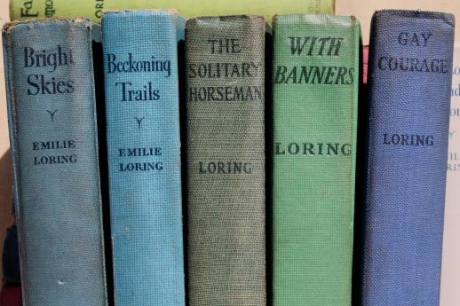 Emilie Loring lot of 25 books, 20s, 30s, 40s romance novels in nice old bindings