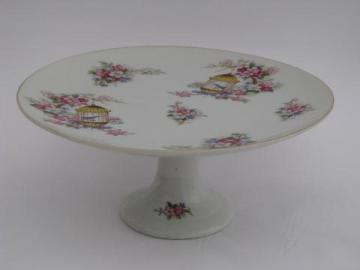 Enesco china pedestal plate, candy dish or small cake stand, birds and birdcages