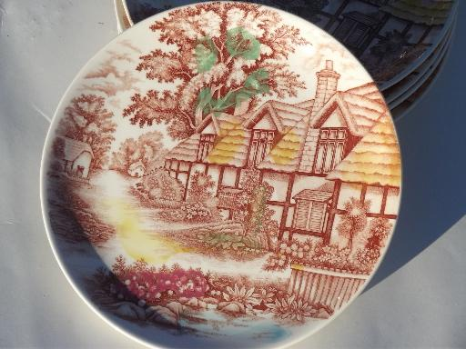 English Cottage vintage china dinner plates made in Japan & Cottage vintage china dinner plates made in Japan