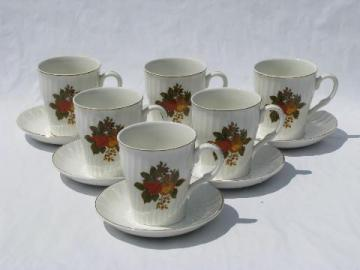 English Harvest Wedgwood china, autumn fruit pattern, 6 cups & saucers