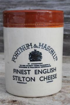 English Stilton cheese crock jar, vintage Royal Doulton crockery pot Fortnum & Mason
