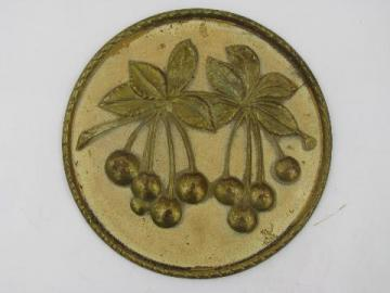 English brass vintage wall plaque, bunch of cherries