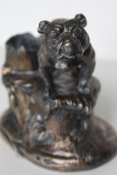 English bulldog antique cast metal inkwell pen holder, spelter w/ bronze finish