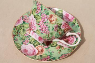 English chintz china teacup & saucer, Edwardian collection England tea cup set pink & green