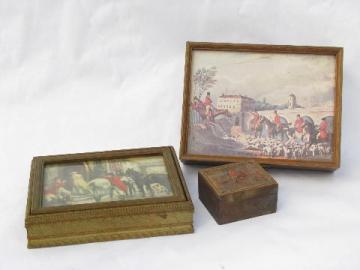 English fox hunt scenes, collection of vintage wood boxes, jewelry box etc.