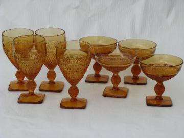 English hobnail diamond point pressed pattern goblets, amber glass